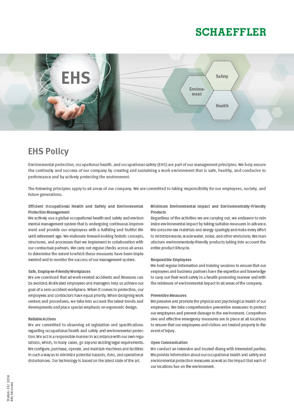 EHS Policy of the Schaeffler Group